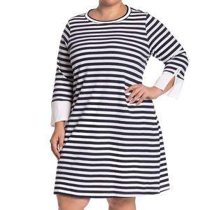 NWT Bobeau Poplin Cuff French Terry Dress 1X